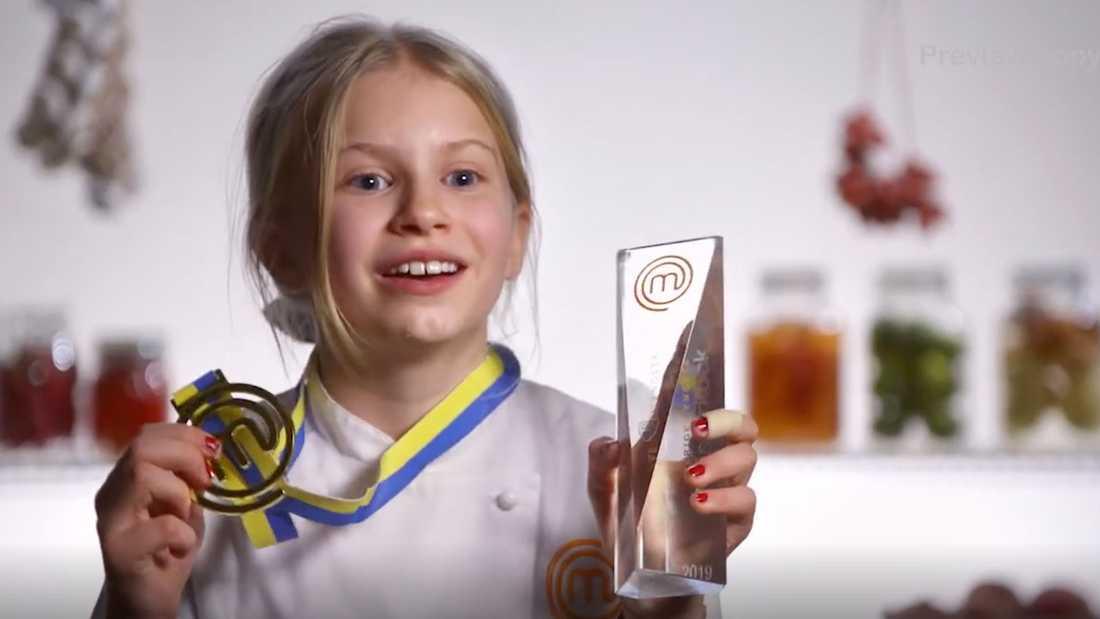 """Agnes Fredriksson vann """"Sveriges yngsta mästerkock 2019""""."""